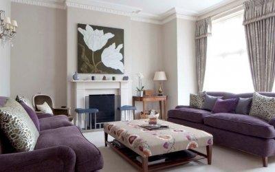 Фиолетовый диван в интерьере +75 фото примеров