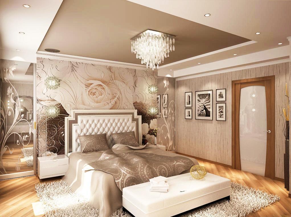 Бежевый декор спальни с розами