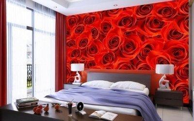 Фотообои с розами в интерьере +30 фото