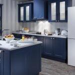 Сочетание серых стен и синей мебели