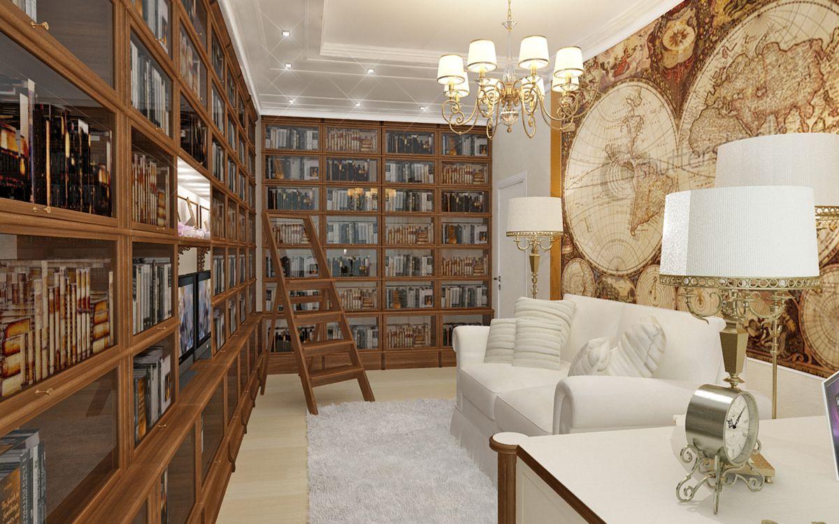 Домашняя библиотека в классическом стиле