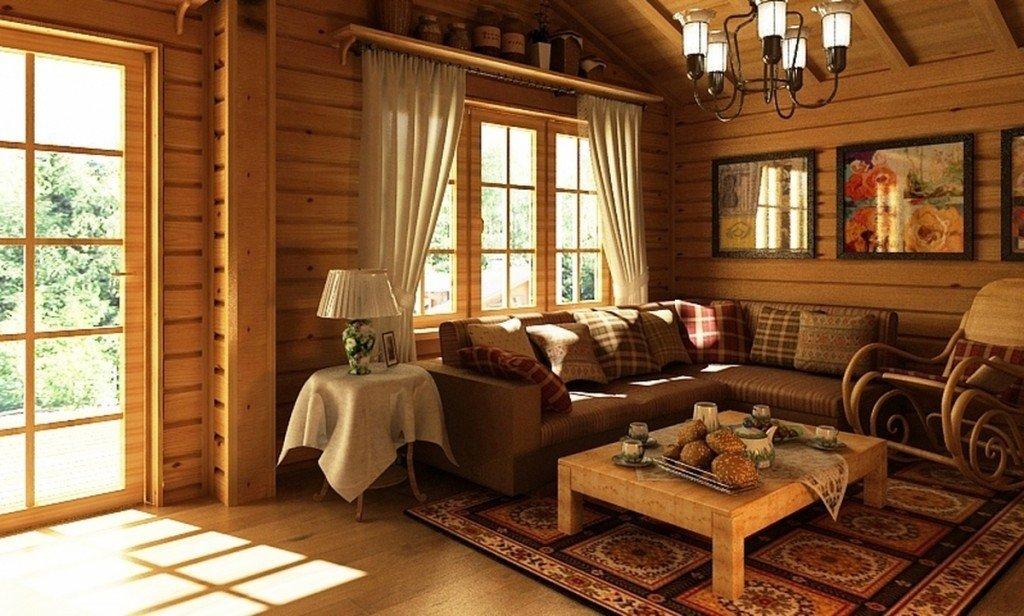Деревенский стиль в интерьере дома из бруса