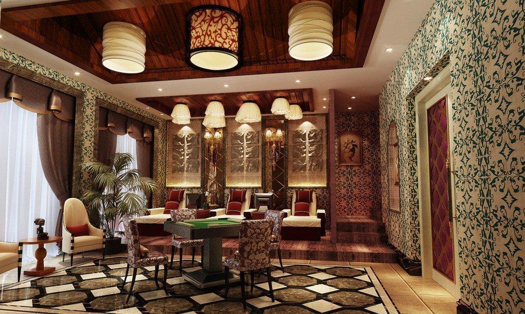 Столовая в восточном стиле в частном доме