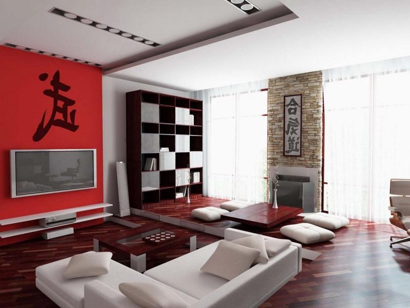 Просторная гостиная в красно-белых тонах