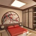 Декор стены изображением сакуры