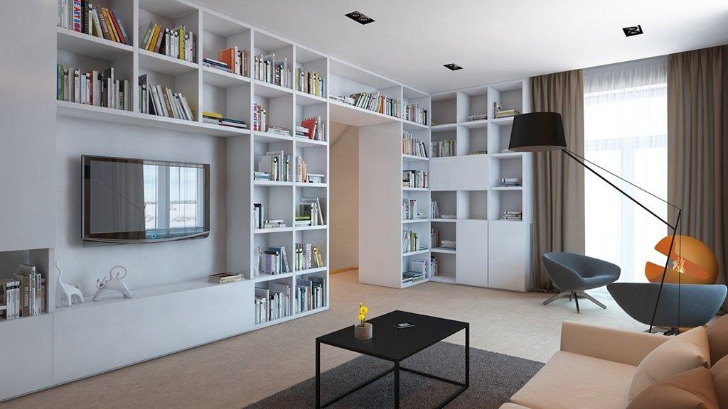 Высокий стеллаж для книг