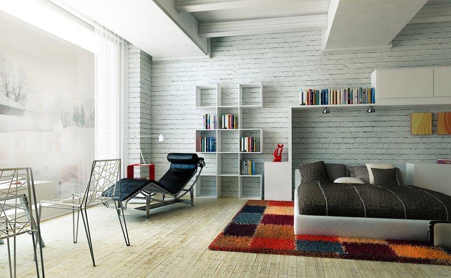 Стеллажи для книг в гостиной