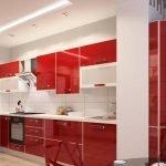 Кухня с белым интерьером и красной мебелью