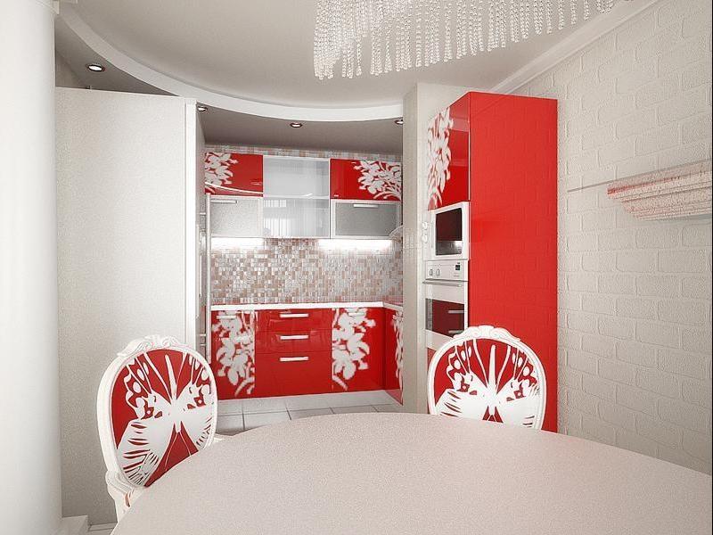 Сочетание светлого интерьера и красной мебели