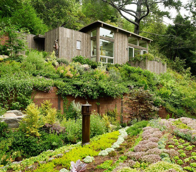 Дом наверху участка со склоном