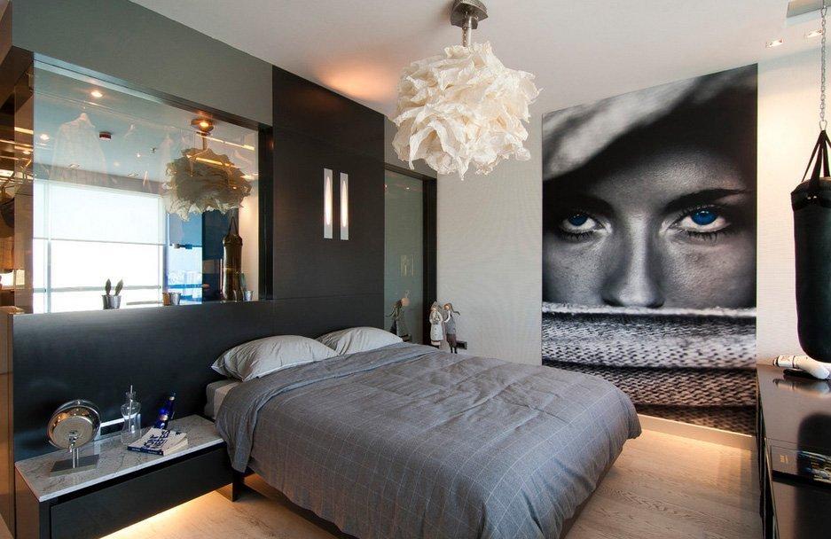 Эффектная люстра в спальне