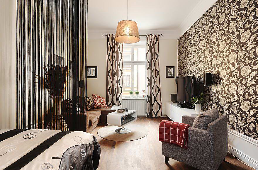 Сочетание штор и обоев в интерьере квартиры