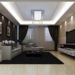 Яркое освещение в гостиной с темными шторами