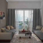 Уютная интерьер гостиной в серых тонах