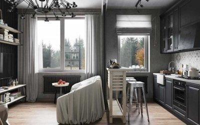 Серые шторы в интерьере +50 фото