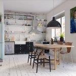 Деревянный пол в кухне