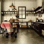 Полки с посудой на стенах