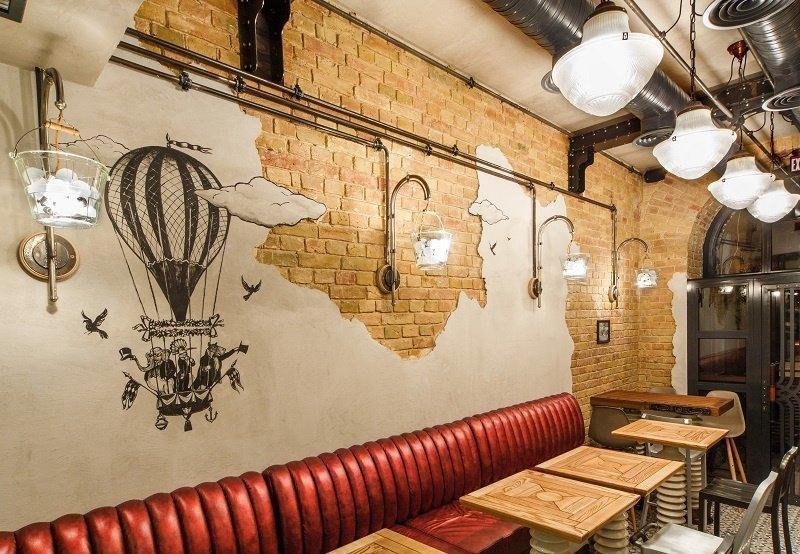 Освещение из светильников и ламп в интерьере в стиле стимпанк