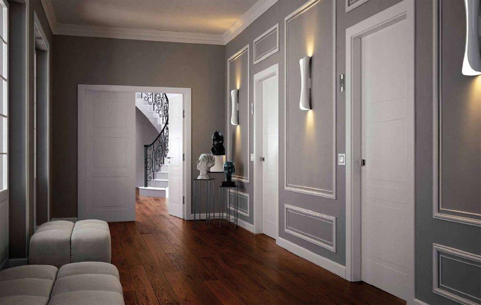 Интерьер в стиле модерн с белыми дверями