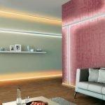 Розовая стена в интерьере