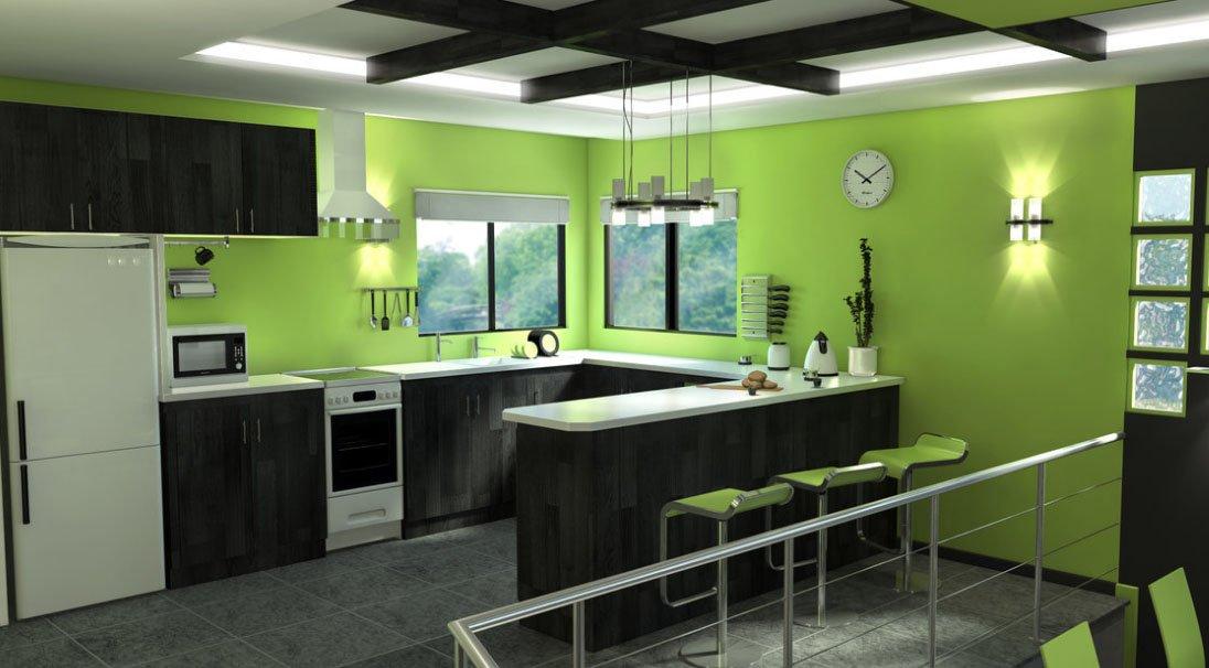 Зеленая кухня с черной мебелью
