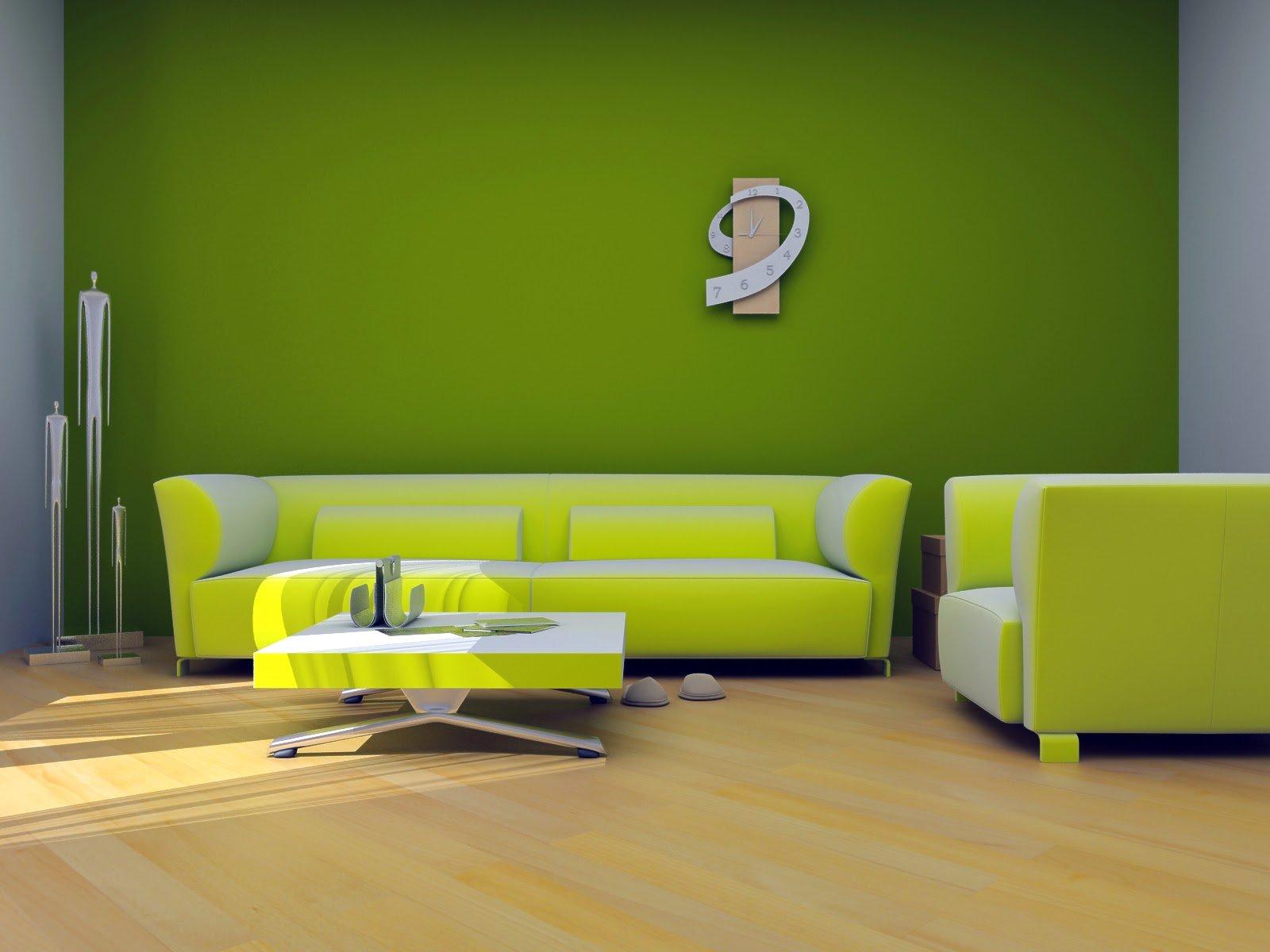Гостиная с зелеными обоями