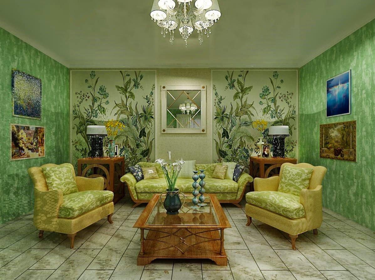 Картины в интерьере с зелеными обоями