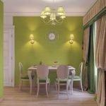 Светлая мебель в столовой