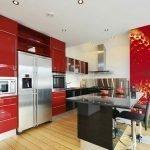 Красно-белая кухня