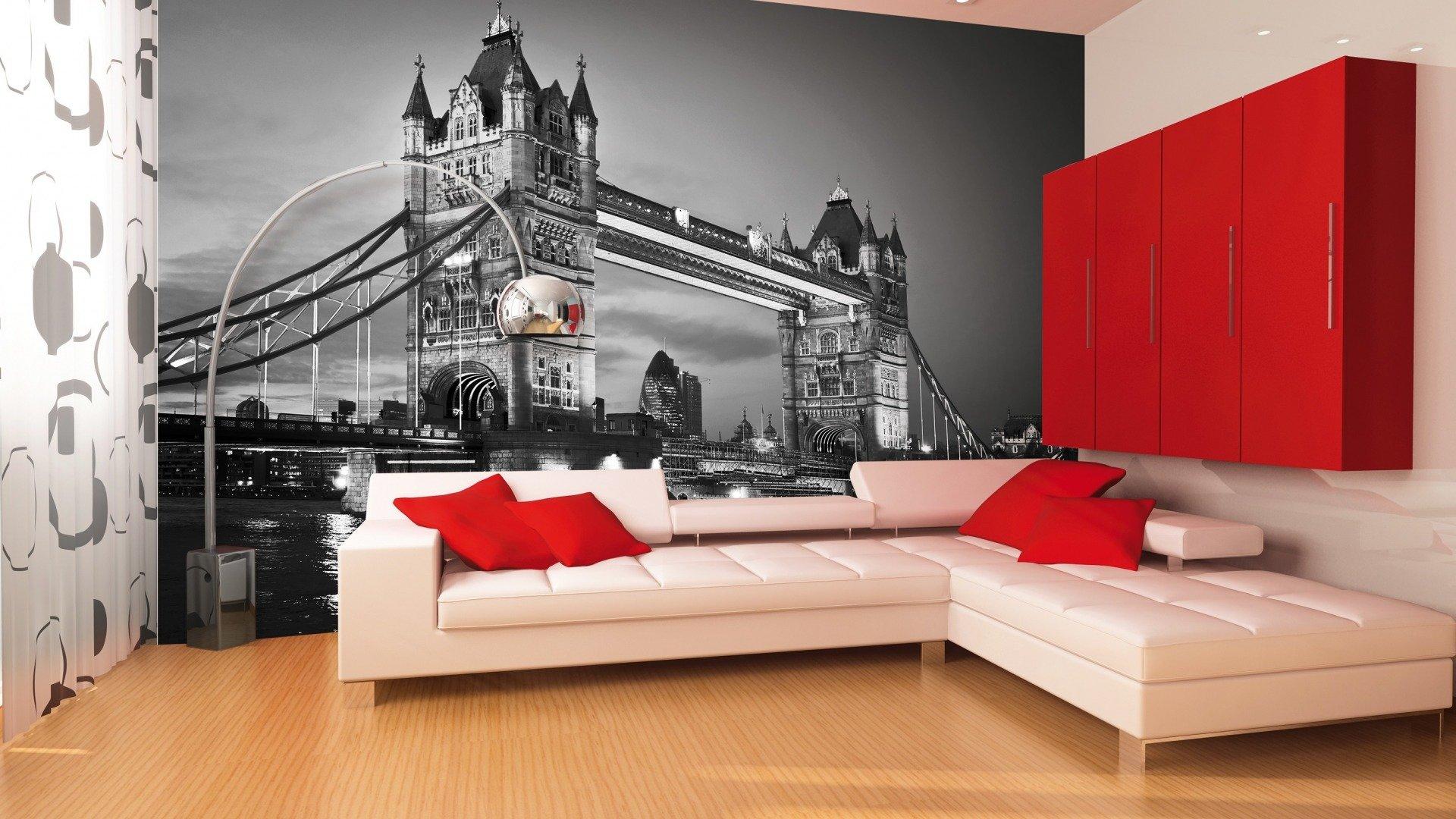 3d-обои с лондонским пейзажем в гостиной