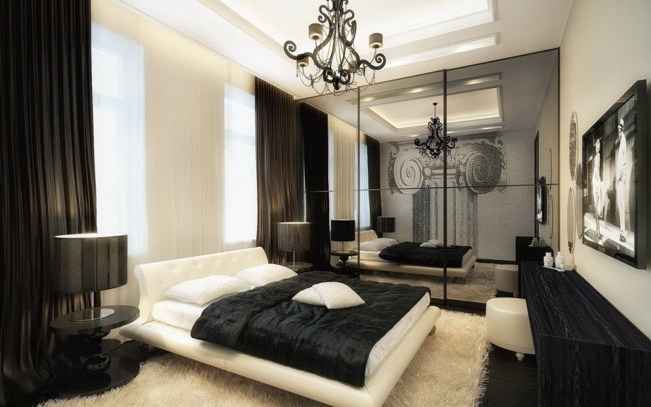 Черный с бежевым в интерьере спальни