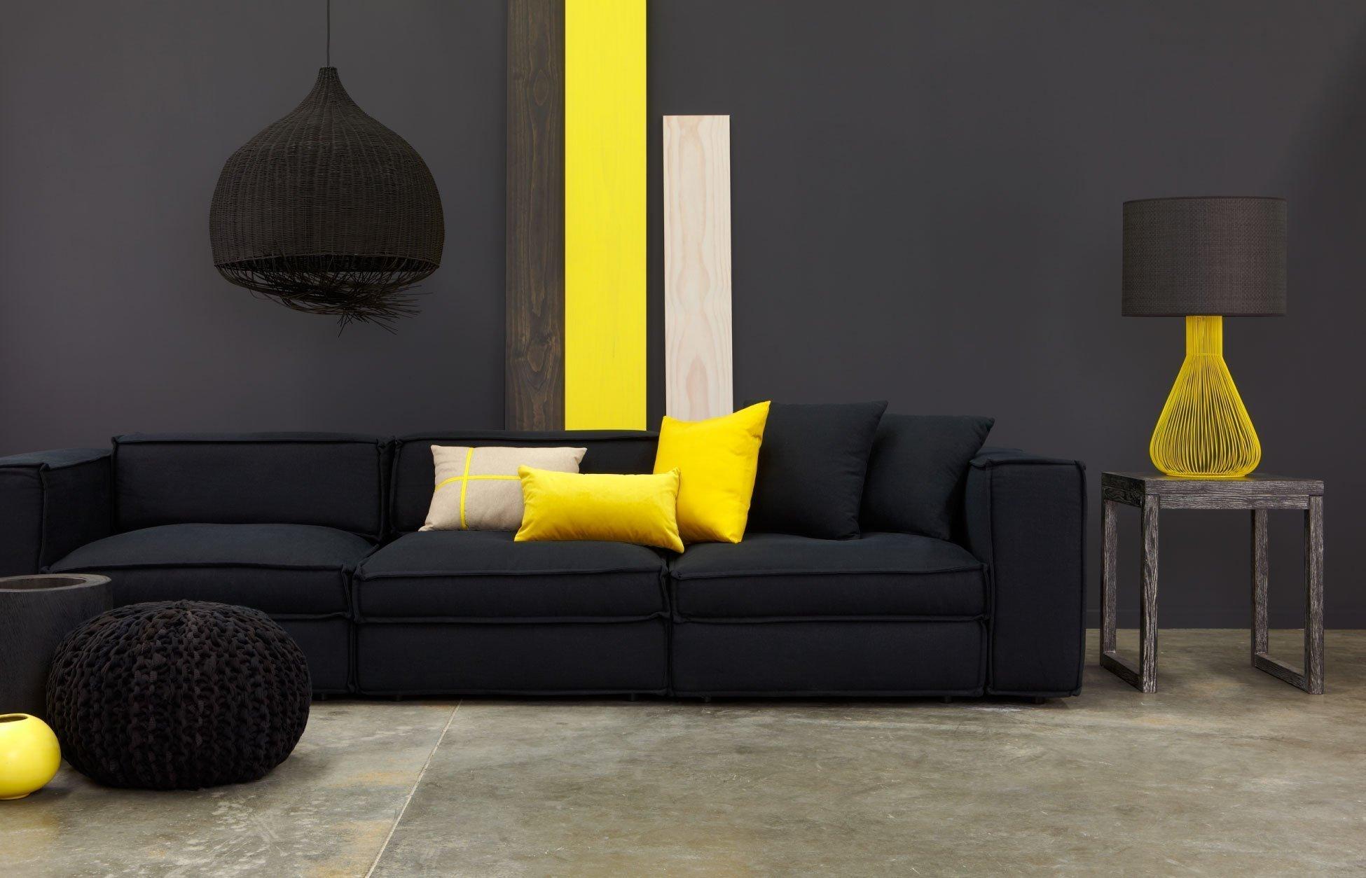 Желтый с черным в интерьере