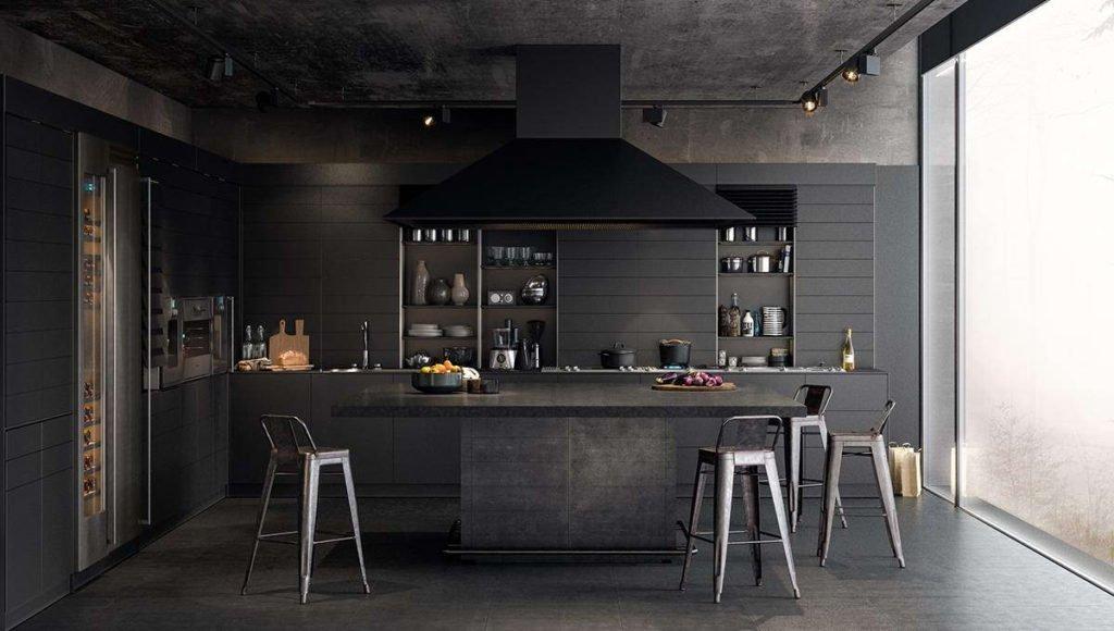 Темный декор кухни в доме
