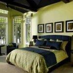 Оливковый и черный в интерьере спальни
