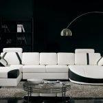 Белая мебель и черные стены
