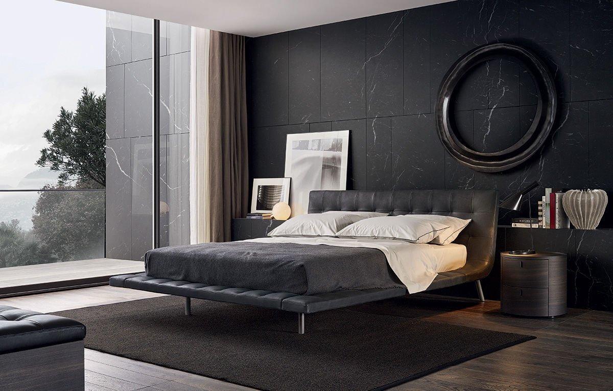 Современная спальня в черных тонах