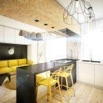 Кухня в черно-желтом цвете