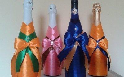 Декор бутылок лентами — красивые способы оформления