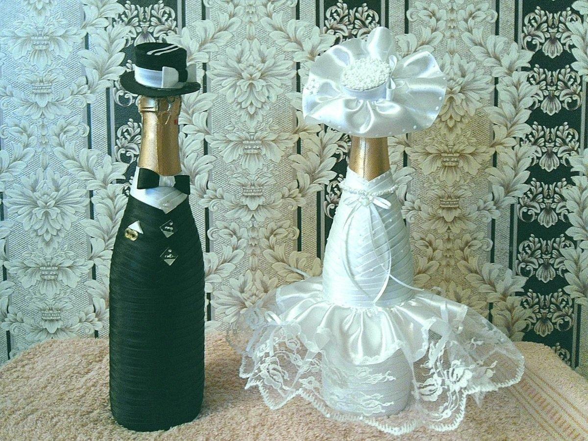 Бутылки на свадьбу своими руками картинки