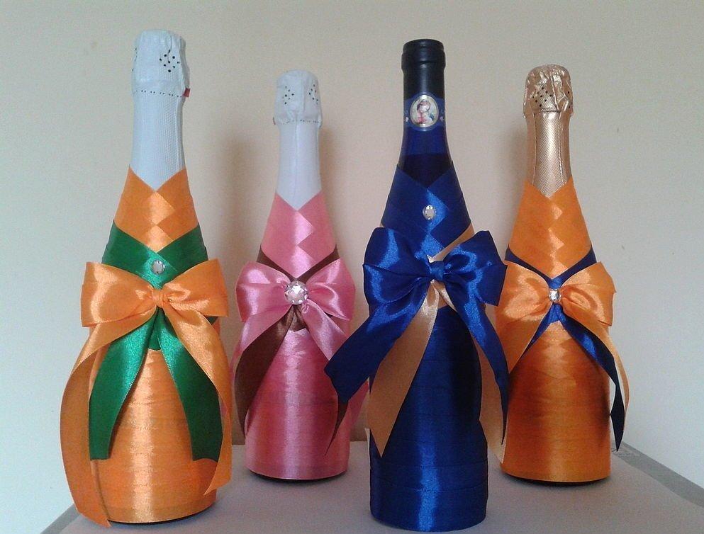 Декор бутылок лентами