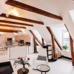 Kitchen, dining and living room in the attic