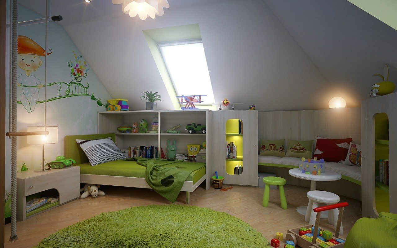 Children's room in the attic of a private house