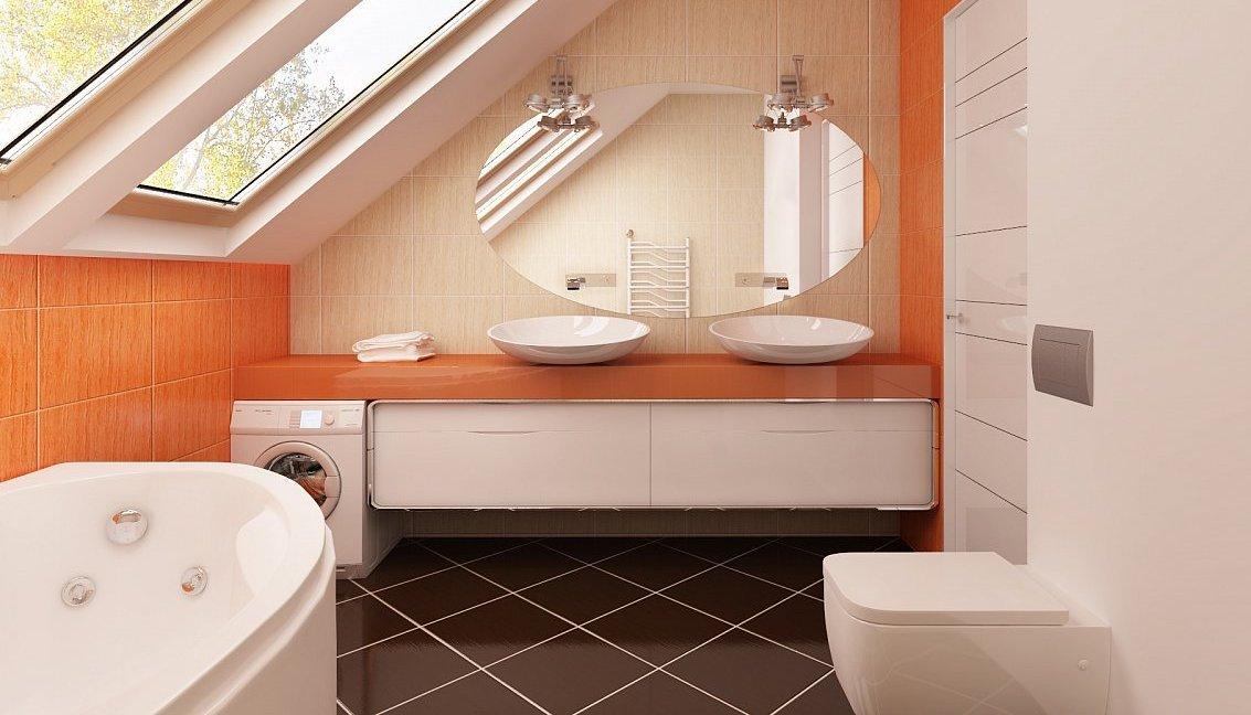 Ванная комната на чердаке частного дома