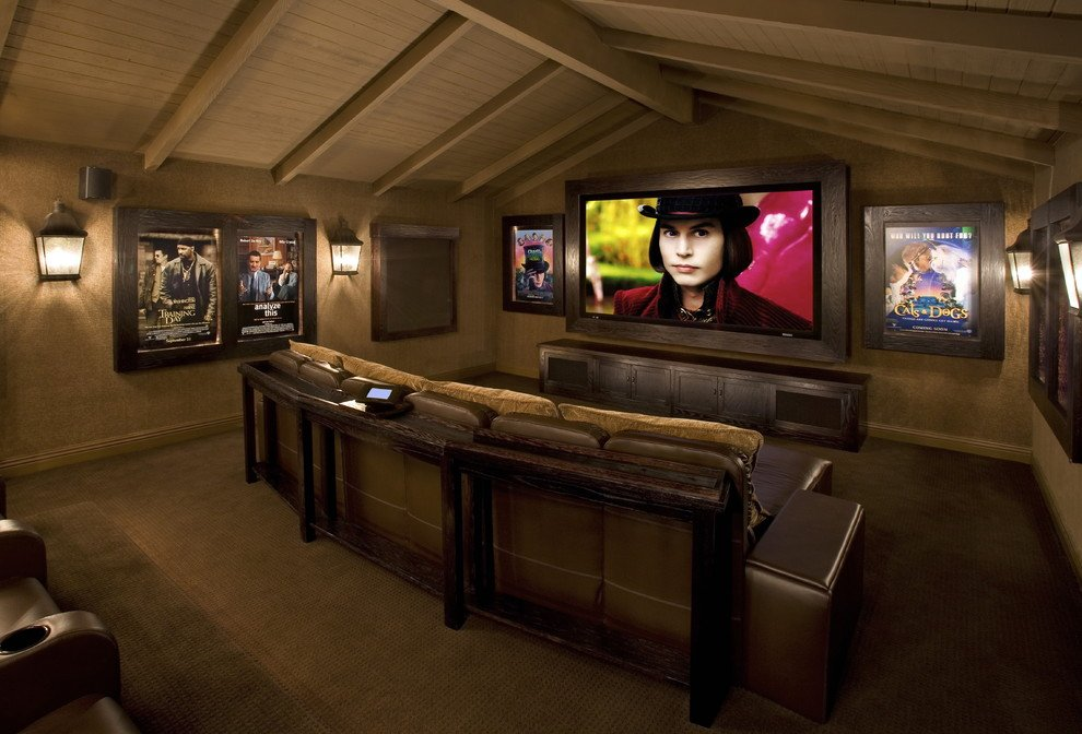 Home cinema in the attic of a private house
