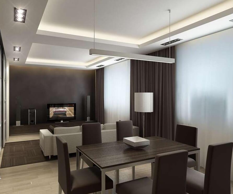 Ламинат на полу гостиной-столовой