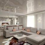Потолок с точечной подсветкой в интерьере