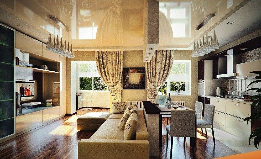 Дизайн гостиной совмещенной со столовой фото