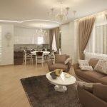 Сочетание белого столика с кофейными креслами и диваном