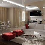 Красные пуфики и белый диван в гостиной