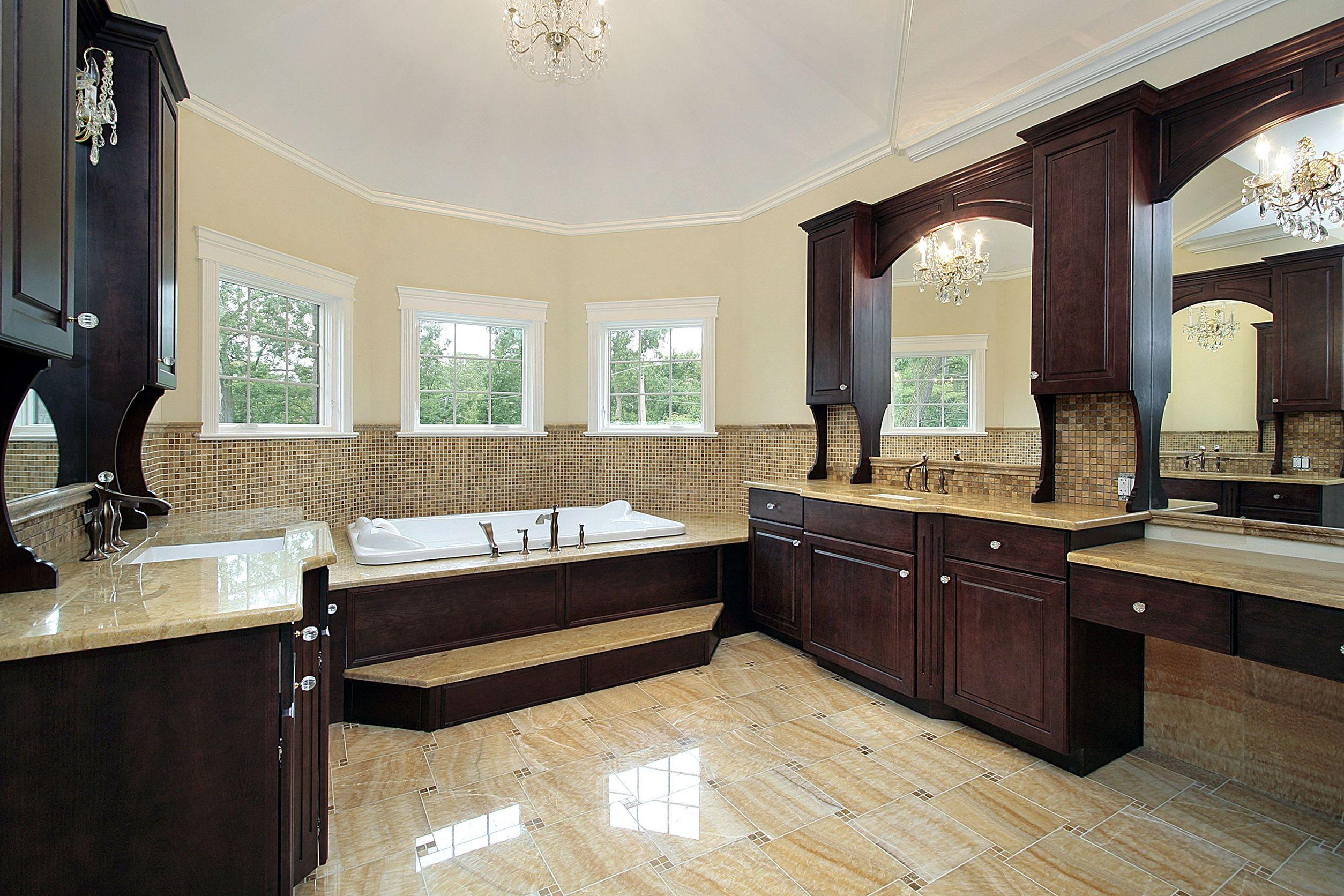 Коричневая мебель в ванной